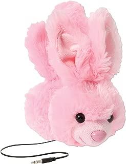 ReTrak Retractable Animalz Tangle-Free, Volume Limiting (85 dB) Over Ear Headphones for Kids, Pink Bunny (ETAUDFBNY)