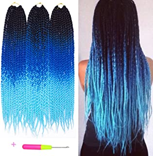 Box Braids Crochet Hair Extensions 100g/pcs Kanekalon Three Tone Ombre Braiding Hair Synthetic Crochet Box Braids (24 inch 3 pcs, 1b/blue/green)