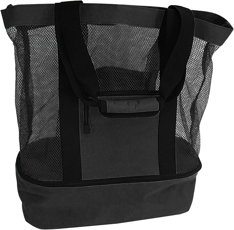 GPZ Ladies Picnic Bag Women's Tote Bag Mesh Refrigerator Insulation Compartment Oversized Zipper Closed Universal Beach Carry Bag Large Mesh Bag Black