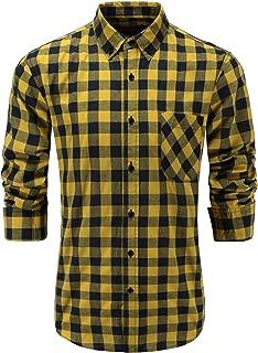 Men's 100% Cotton Slim Fit Long Sleeve Button Down Plaid Dress Shirt