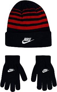 Nike Boy`s Beanie & Gloves 2 Piece Set (Black(9A2909-R1N)/University Red, 8-20)
