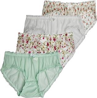Farlenoyar النساء الفتيات 4 حزمة القطن غزل لطيف لينة موجزات ملابس داخلية بيكيني ملابس يومية رقيقة انظر من خلال السراويل