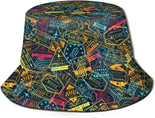 Unisex Passport Stamp Pattern Print Travel Bucket Hat Summer Fisherman Cap Sun Hat Black