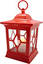 YAKii Hanging LED Flameless Candle Lantern,Yellow Light Flicker Battery Operated,Plastic,Red