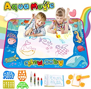 OUNUO Aqua Magic Mat Water Drawing Mat Kids Painting Writing Drawing Board Bring Magic Pens Educational Toys for Age 2 3 4 5 6 7 8 9 10 Year Old Girls Boys Age Toddler Gift