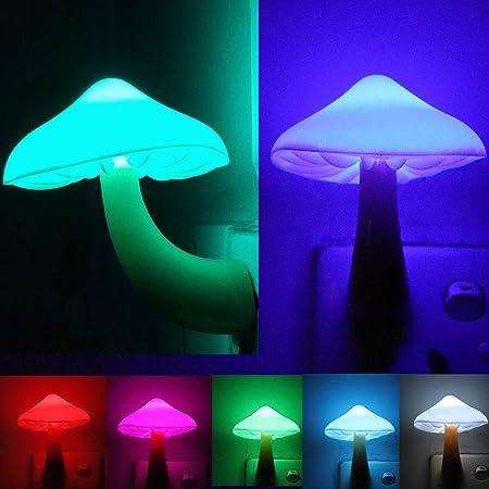 Automatic Sensor LED Night Light Plug in Mushroom Shape Bedroom Lamp Gift