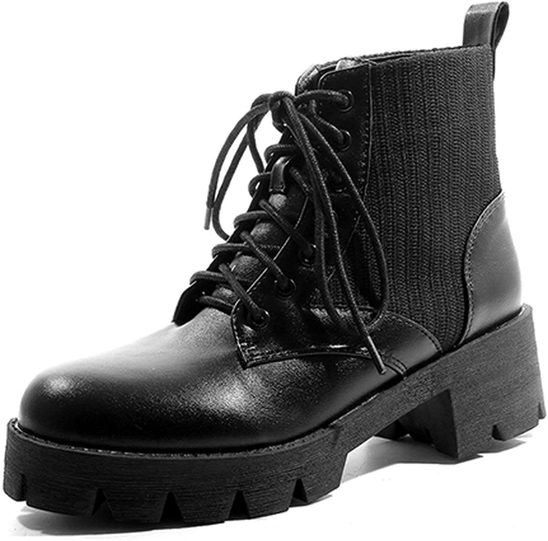 Summer-lavender Leather Platform Boots Women Autumn shoes Lacing Motorcycle Boots Black Ankle Boots Rubber Sole