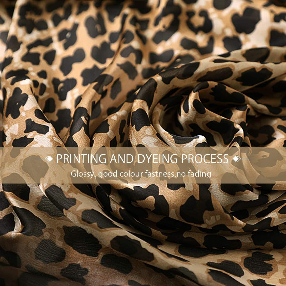LumiSyne Sciarpa Di Seta Morbida Donna Stampa Animalier Sciarpa Leopardata Stampa Pavone Cavallo Lunghi Stole Scialle Protezione Solare Per Tutte Le Stagioni