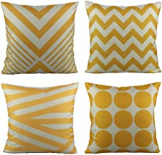 All Smiles Outdoor Decorative Throw Pillow Covers Cushion Cases Home Decor Accent Square 18 x 18 Set of 4 for Couch Sofa,Geometric Yellow&Lemon Color