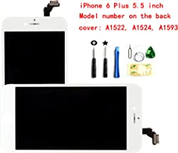 White Iphone 6 plus 5.5 inch LCD screen replacement Full digitizer Assembly Frame set Front Glass Display with required tool kit