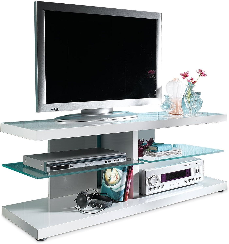 TV-Lowboard Fernsehschrank Fernsehtisch HARVEY  LED-Beleuchtung  Wei Hochglanz  Glas  120x43x40 cm