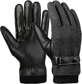 VBG VBIGER Men Warm Gloves Winter Touchscreen Gloves All Fingers Texting Gloves Driving Motorcycle Gloves Work Gloves Black