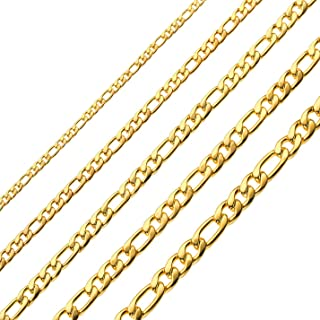 18k Real Gold Plated Figaro Chains Necklace 4MM 8.5MM Stainless Steel Figaro Link Chains for Men Women 16 Inches 30 Inches