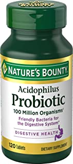 Nature's Bounty Probiotics Dietary Supplement, Supports Digestive and Intestinal Health, Probiotic Acidophilus, 120 Tablets