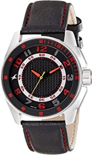 Fastrack Men's Black Dial Leather Band Watch - 3089SL12