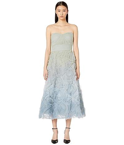 Marchesa Notte Strapless Ombre Tulle Tea Length Gown (Light Blue) Women