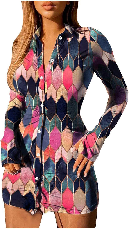 ManxiVoo Women's Turn Down Collar Business Dresses Lapel Collar Long Sleeve Button Down Slim Shirt Dress