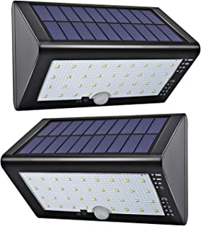 LED Solar Lights Outdoor JACKYLED Solar Powered Porch Lights with USB Charging Wireless Outdoor Solar Motion Lights for Porch Front Door Garden Patio Driveway Pathway 2-Pack Black