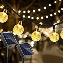 Gluckluz Solar String Lights 30 LED Outdoor Globe Rope Decor Lighting for Indoor Home Garden Party Holiday Patio (Warm, 2 ...