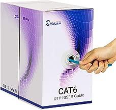 CAT6 Riser (CMR) 1000ft Bulk Ethernet Cable | Blue, White, Green, Yellow & Black | 550MHz, 23AWG, UTP | Fluke Tested | Guaranteed High Bandwidth & Stable Performance - Blue