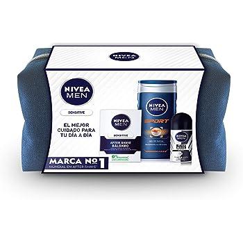 NIVEA MEN Estuche de regalo con set de 3, kit de regalo para hombre, pack de baño completo con desodorante, crema hidratante y gel de ducha para una piel fresca: Amazon.es: Belleza