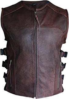 Premium Perforated Leather Motorcycle Biker Vest Waistcoat Naked Cowhide HD The Commando SWAT style