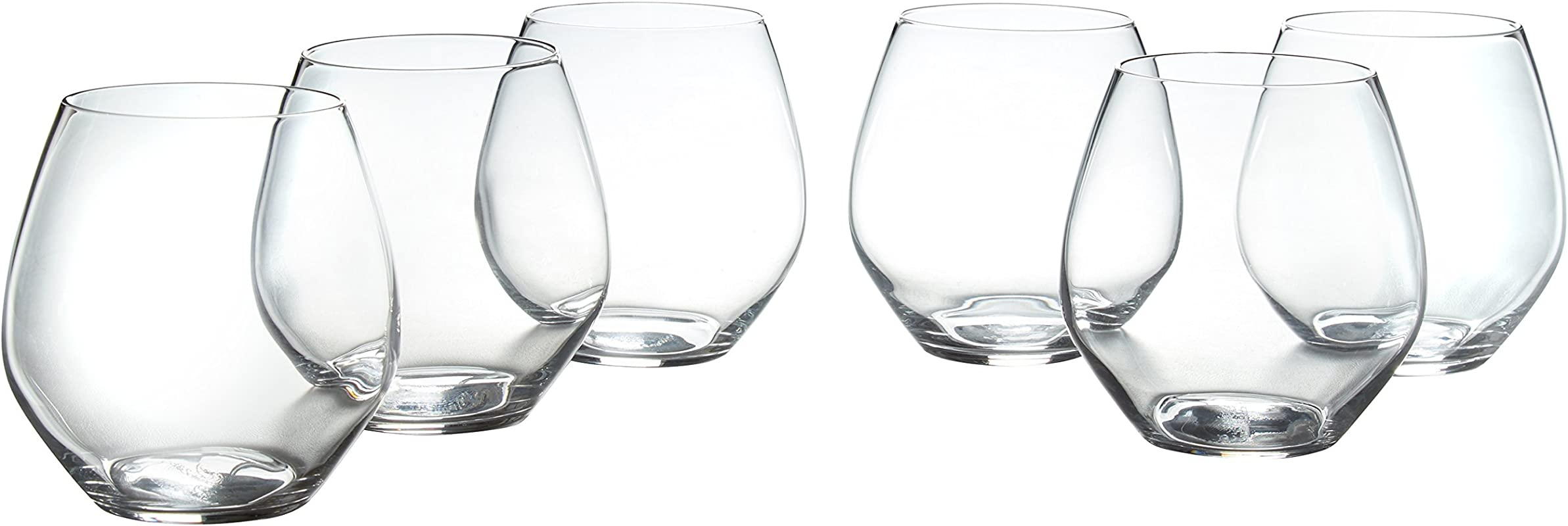 Stone Beam Traditional Stemless Red Wine Glass 19 Ounce Set Of 6