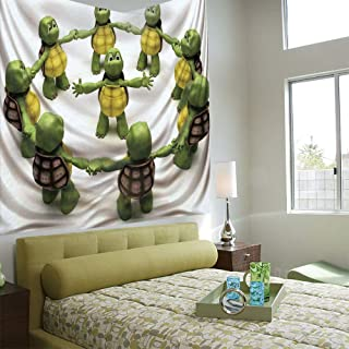 AngelSept Wall Tapestry Decorative Art Prints can be Hung on The Bedside of Dormitory,Reptile,Ninja Turtles Dancing Tortoise Team Relax Fun Happiness Childhood Kids Print Decorative,Green White Brown