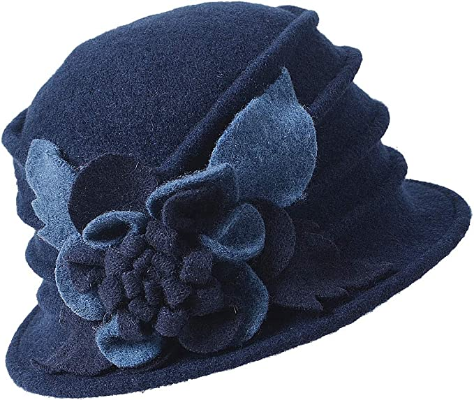1920s Hat Styles for Women – History Beyond the Cloche Hat FORBUSITE Vintage Women Floral Wool Dress Cloche Winter Hat 1920s  AT vintagedancer.com