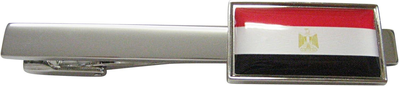 Thin Bordered Egypt Flag Square Tie Clip