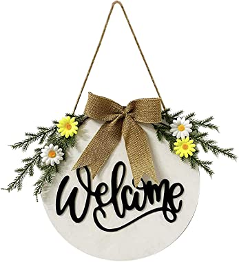 Front Door Welcome Sign Wreath, Summer Wreath Farmhouse Front Porch Decor, Rustic Home Sign Decorations Outdoor Hangers, Hous