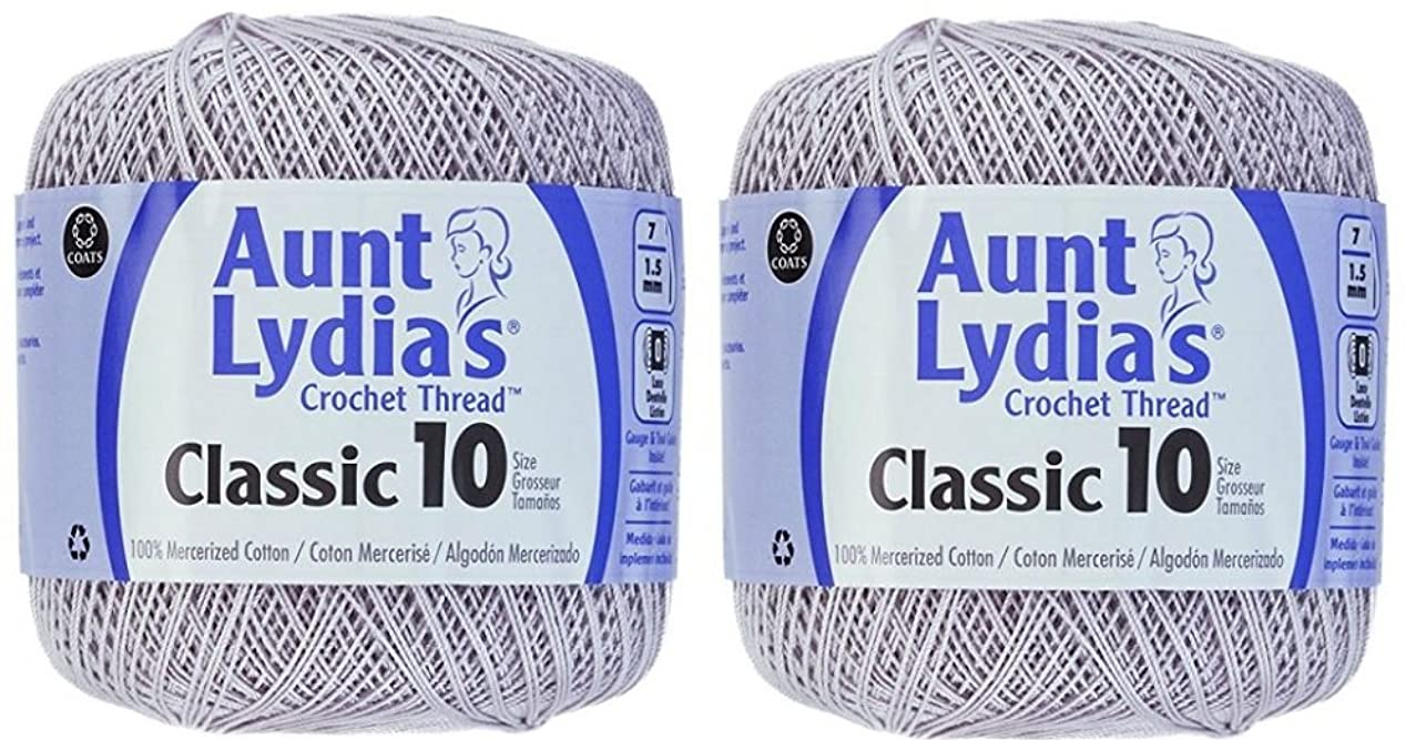 Aunt Lydia's Crochet Thread - Size 10 - Silver (2-Pack)
