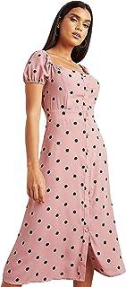 فستان منقط متوسط الطول مع زر اغلاق للنساء