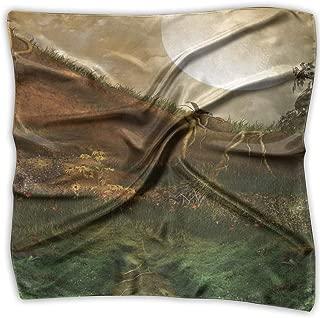 Bandana Head and Neck Tie Neckerchief,Exquisite Valley With Giant Full Moon Sky Enchanted Fantasy Scenery,Headband