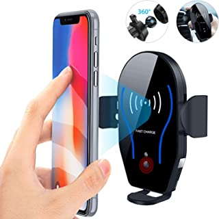 Linkstyle Wireless Car Charger Mount Air Vent Automatic Clamping IR Intelligent Sensor Phone Holder, Qi Fast Charging Car Phone Mount Compatible with iPhone Xs Max XR X 8 Plus,Galaxy S10+ S9 Note 9