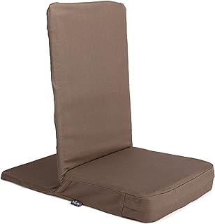 MANDIR vloer stoel met gewatteerde rugleuning, meditatiestoel met extra dik zitkussen (clay)