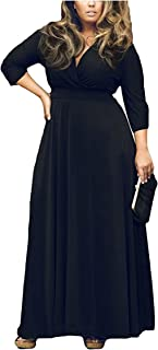 IyMoo Women's Solid V-Neck 3/4 Sleeve Plus Size Evening Party Maxi Dress