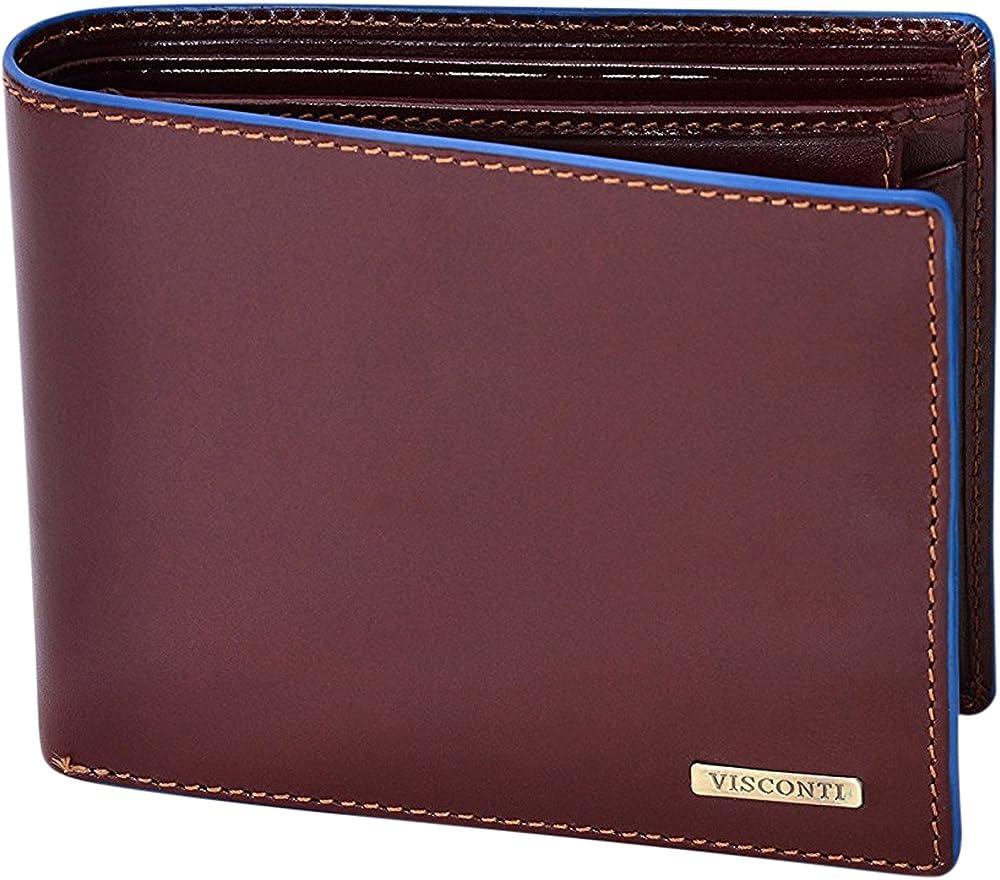 visconti, ® portafoglio uomo,in vera pelle con protezione rfid, porta carte di credito,diversi colori alps