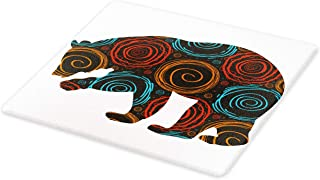 Ambesonne Animal Cutting Board, Bear Silhouette Covered with Abstract Circular Spiral Shapes Dots Illustration, Decorative Tempered Glass Cutting and Serving Board, Large Size, Charcoal Orange