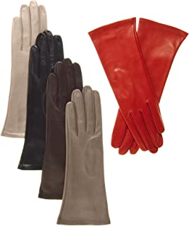Women's Italian 4 Button Length Silk Lined Leather Gloves