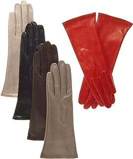 Fratelli Orsini Women's Italian 4 Button Length Silk Lined Leather Gloves