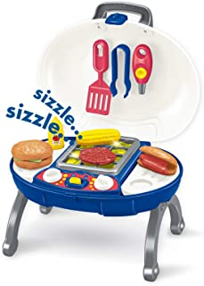 papasbox Pretend Play Food BBQ Playset Kitchen Toys with Light and Voice Funny Grill Cooking Play Toy for Kids Toddlers