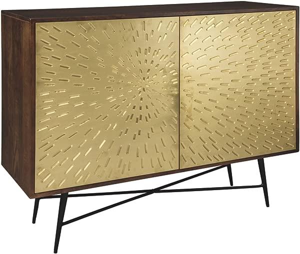 Ashley Furniture Signature Design Majaci 2 Touch Latch Door Accent Cabinet Contemporary Brown Gold Sunburst Pattern Door Fronts
