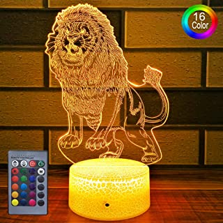 HLLKYYLF Kids Lion Decor Lion Party Supplies 16 Color Changing Kids Lamp with Touch and Remote Control Lion Toy Light as Gift Idea for Home Decor or Birthday Gifts for Baby (Lion)