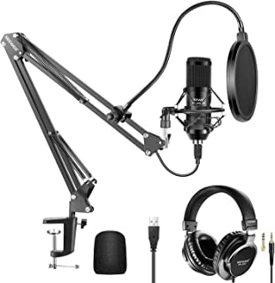 Neewer USB Microphone Kit 192KHz/24Bit Plug&Play Cardioid Condenser Mic with Monitor Headphones, Foam Cap, Arm Stand and S...
