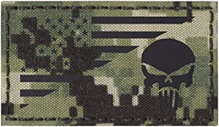 AOR2 IR Punisher Skull USA American Flag NWU Type III 2x3.5 Infrared IFF Tactical Morale Hook&Loop Patch