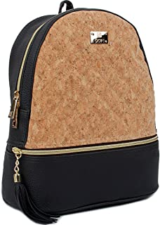 Women's Simple Design Cork Leather Fashion Quilting Backpacks Black Beige