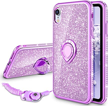 VEGO Case for Apple iPhone XR 6.1 inch,Glitter Case Bling Diamond Rhinestone with Kickstand Ring Grip Girls Women Case for iPhone XR(Purple 6.1in)