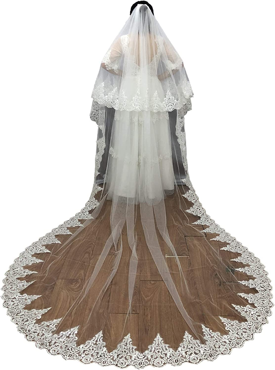 Faithclover Wedding Veils Long Length White Ivory 2T Cathedral Blusher with Comb