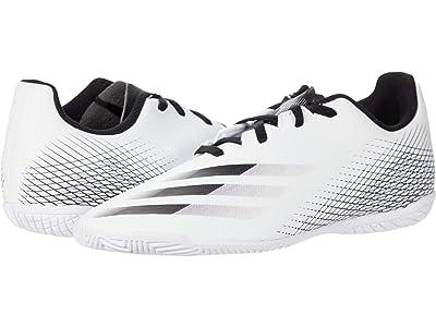 adidas Kids X Ghosted.4 IN J Soccer (Little Kid/Big Kid) (Footwear White/Core Black/Silver Metallic) Kids Shoes
